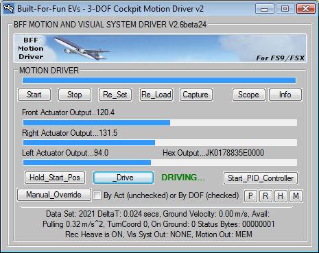Low Cost 3 DOF Flight Simulator Motion Platform Software